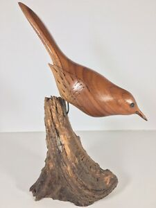 Vintage-Carved-Wood-Bird-Statue-Mid-Century-Folk-Art-Drift-Nature-Sandpiper