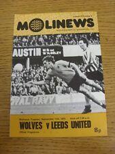 11/09/1973 Wolverhampton Wanderers v Leeds United  (Team Changes)