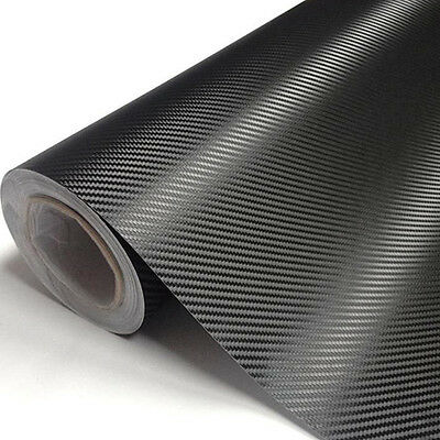 3D CARBON FIBRE BLACK CAR WRAP MATTE VINYL FILM SIGN STICKER (Air/Bubble Free)