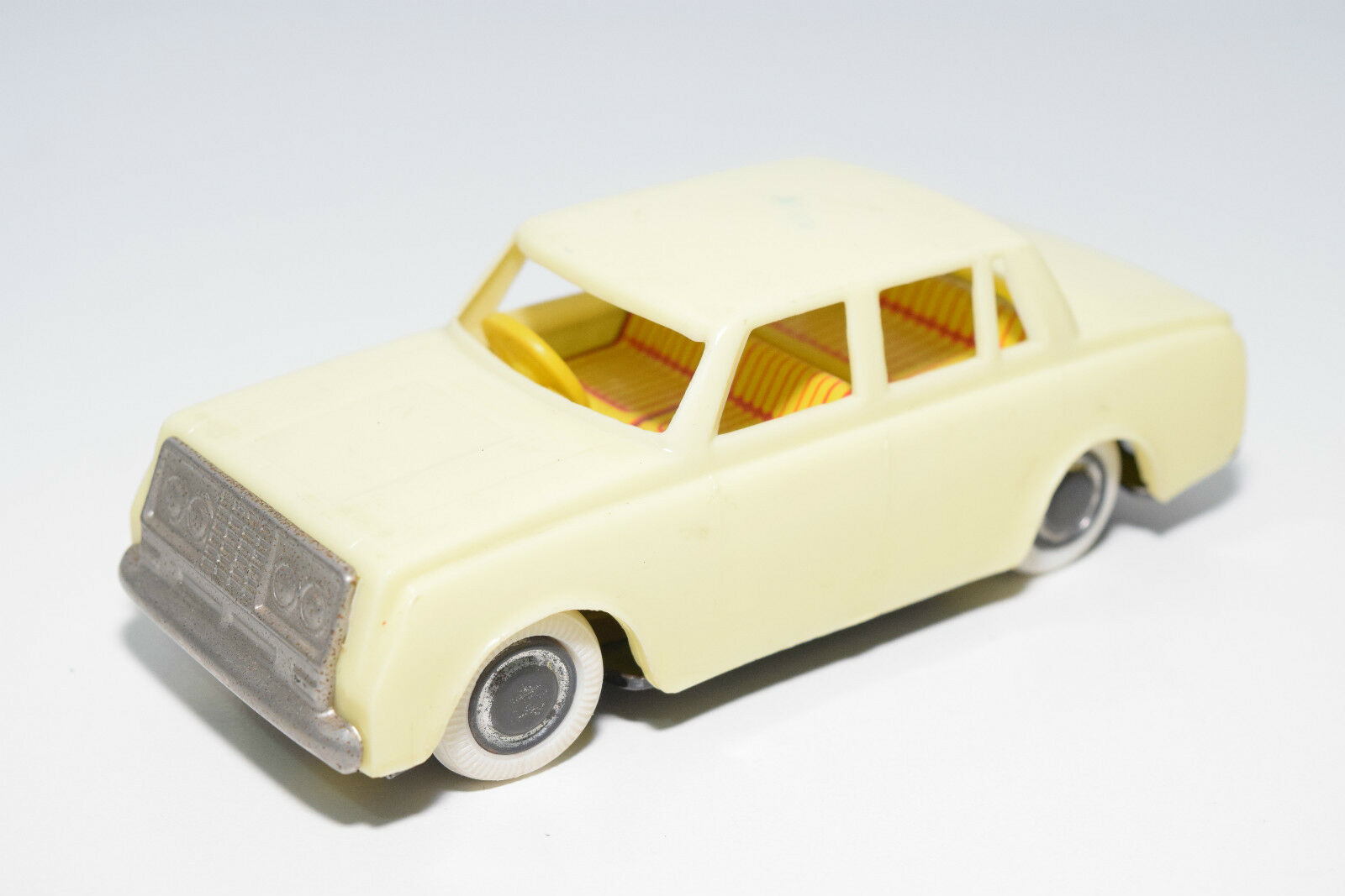 JAPAN PLASTIC TINPLATE TOYOTA CoroNA 4 DOORS LIGHT giallo EXCELLENT RARE SELTEN