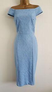 NEW-WAREHOUSE6-10-Blue-Lace-Off-Shoulder-Bardot-Pencil-Midi-Dress-Wedding-Party