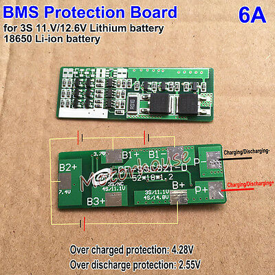 6A Battery BMS Protection Board for 3S 11.1V 12.6V lithium 18650 Li-ion battery