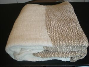 Pottery Barn Awning Stripe Woven Throw Flax And White