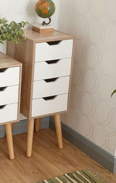 Vintage Retro Tallboy Small Wooden Cabinet Tall Chest Drawers