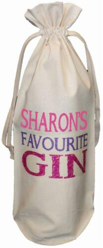 PERSONALISED FAVOURITE GIN Birthday PINK COTTON BOTTLE BAG Christmas