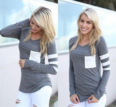 Fashion Womens Summer Casual Long Sleeve Tops Shirt Ladies Loose T-shirt Blouse