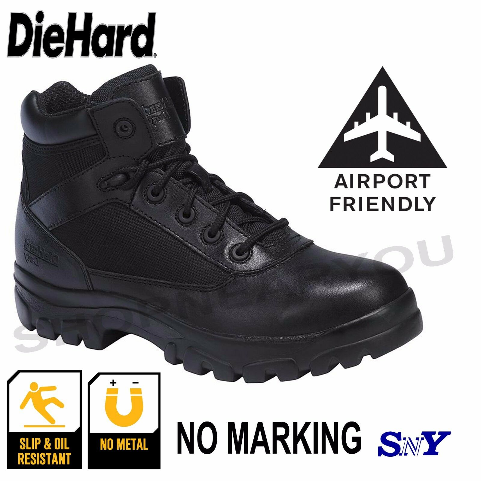 No-Metal Security SWAT Tactical Boots Airport Friendly ORTHO Slip Resistant dh