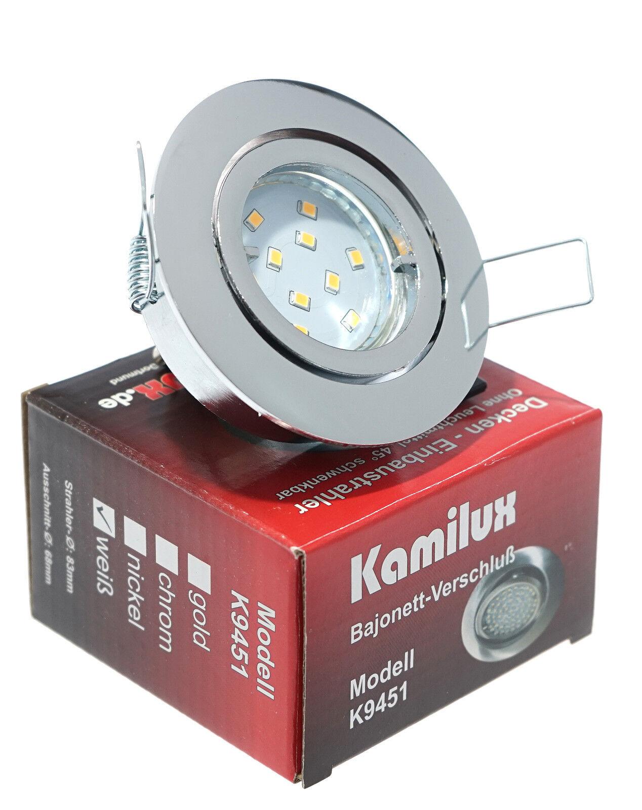 5Watt LED Einbauspot 230Volt GU10 Leuchtmittel 400Lumen Einbauleuchte Bajo IP20
