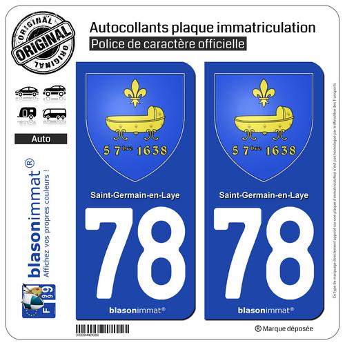 2 Adhésifs Plaque Immatriculation | 78 Saint-germain-en-laye - Armoiries | 78100