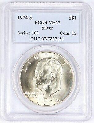 1973 S EISENHOWER IKE DOLLAR $1 SILVER PCGS MS 67 MINT STATE SPOT HAZE FREE