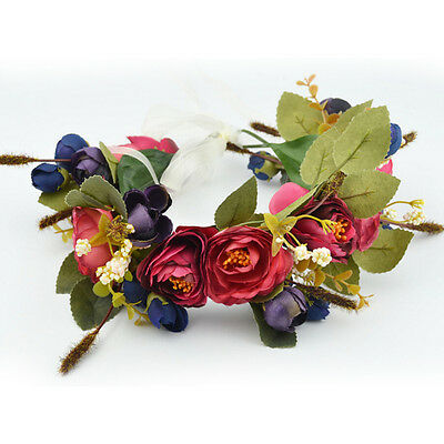 Floral Garlands Headband Women Wedding Flower Wreath Bohemia Crown Hair Band zp