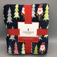 Storehouse Christmas Tree Santa Soft Micro Plush Throw Blanket Holiday 60x70