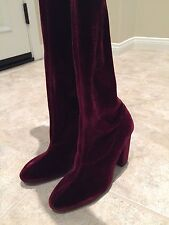 ZARA VELVET OVER THE KNEE HIGH HEEL BOOTS BURGUNDY RUBY RED SIZE5 EUR35 5008/101