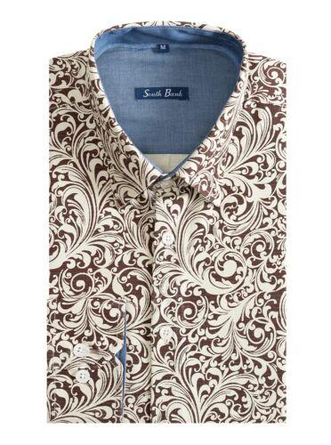 Men/'s Floral Shirt Print Canvas Slim Premier Cotton Vintage Paisley Green Yellow