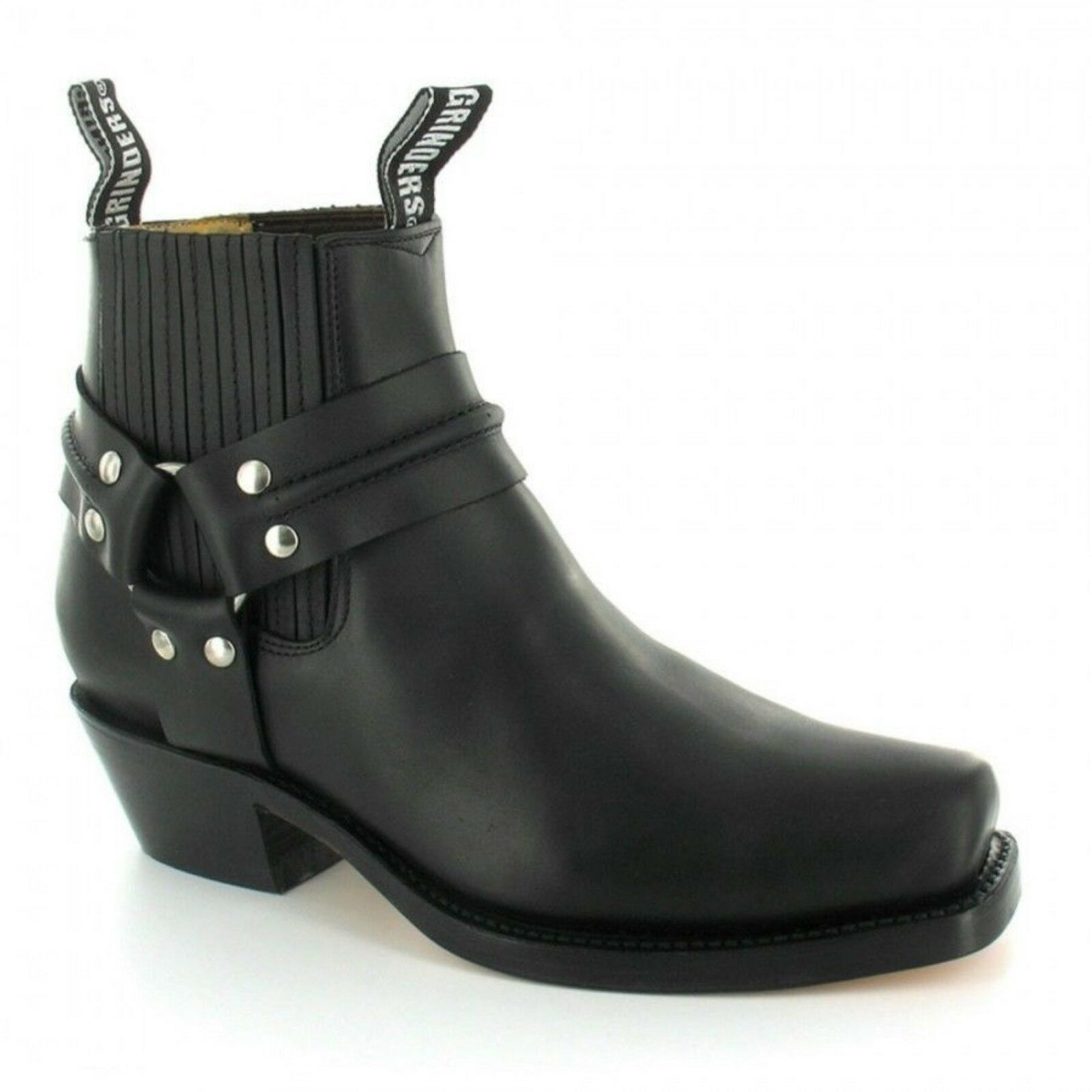 Los zapatos más populares para hombres y mujeres Nuevo Grinders Renegade LOW para Hombre Negro Zapatos Botas occidental de cuero de motorista
