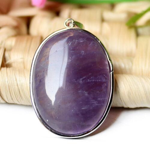 Mystical Gift Natural Purple Amethyst Gemstone Vintage Silver Necklace Pendants