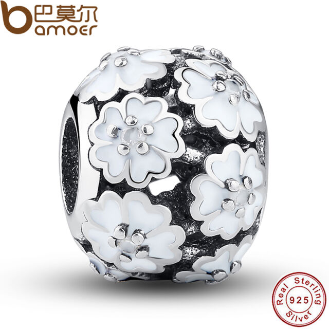 Fine S925 Sterling Silver Charms With White Hollow Flowers For Women Bracelets