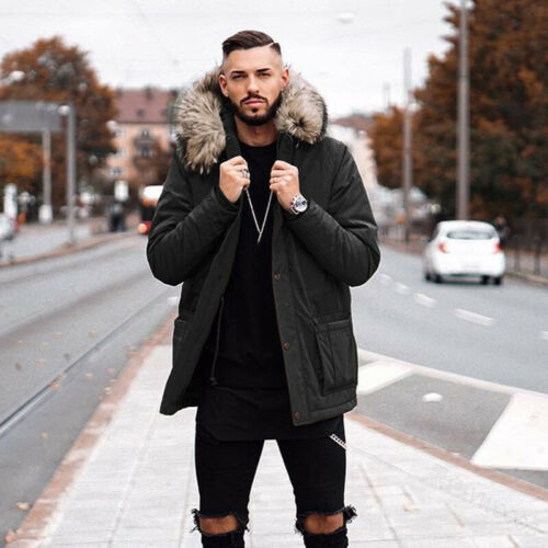 Mens Cotton Padded Warm Hooded Fur Collar Outwear Jacket Mid Length Occident New