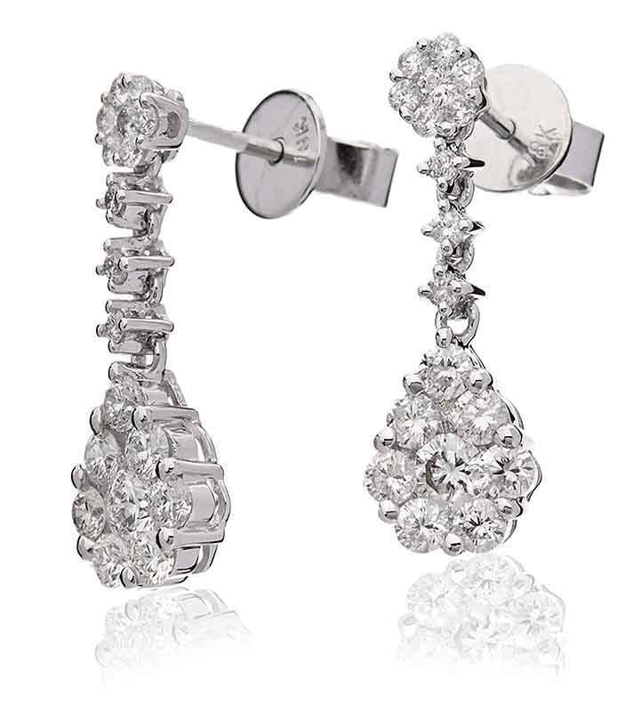 Diamond Drop Daisy Earrings 1.10ct F VS Brilliant Cut in 18ct White gold