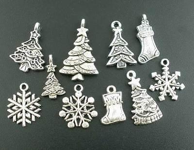 200Pcs Mixed Silver Tone Christmas Motif Charms Pendants