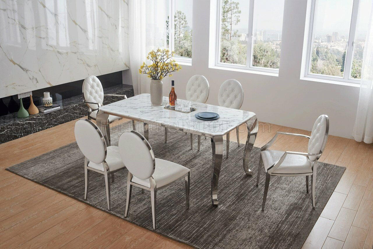 Esf 110 Dt 151 Dc Modern White Finish Marble Top Dining Table Set 5 Pcs For Sale Online Ebay