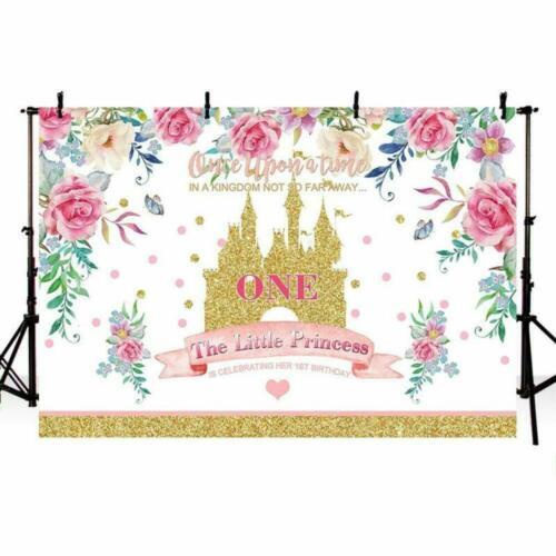 MEHOFOTO Kingdom Little Princess 1st Birthday Photo Background Banner Spring Flo