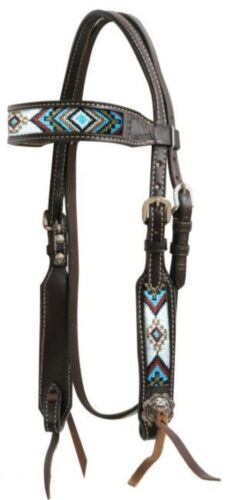 NEW HORSE TACK Showman Dark Brown Argentina Leather Headstall W// Beaded Inlays