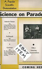 C-1940 POSTER Science on Parade GYROSCOPE OSCILLOGRAPH Scientific Demonstration