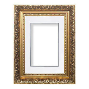 Ornate-Swept-Antique-Style-Picture-Photo-Frames-With-Layered-Mount-French-Style