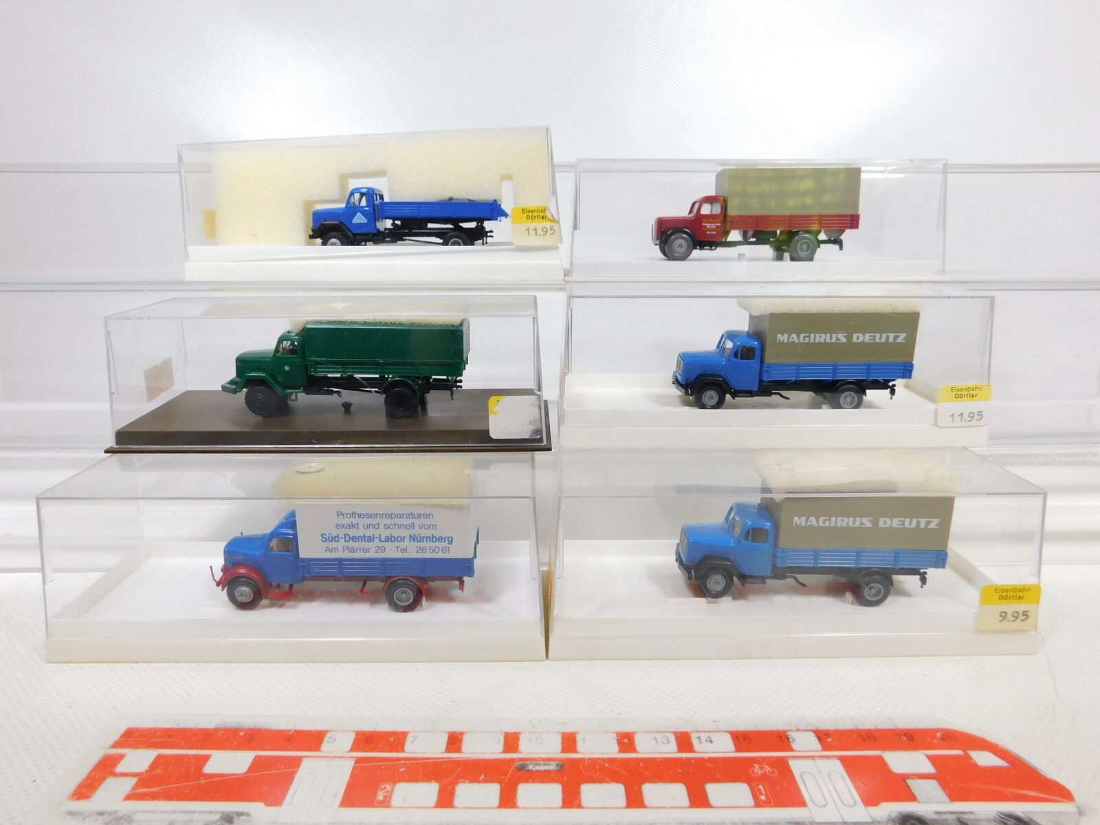 Ca341-1  6x Brekina 1 87 h0 camión Magirus  4600+4609 policía +4605+4100 S. etc g + embalaje original