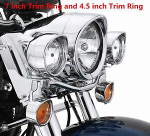 For-Harley-Davidson-Visor-Style-Passing-Lamp-7-034-Headlamp-Trim-Ring-Softail-Fatboy