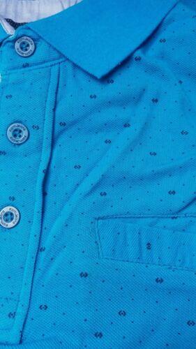 Kam KBS5223 Aqua Blue Stampato Dobby POLO 2XL3XL4XL5XL6XL7XL8XL