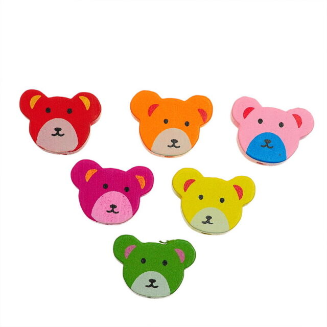 80PCs HOT SALE Wooden Loose BEADS Charm Cute Bear Mixed 19mm x14.5mm New