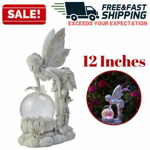 Garden Statue Fairy Solar Powered Color-Changing LED Lawn Yard Patio Ornament