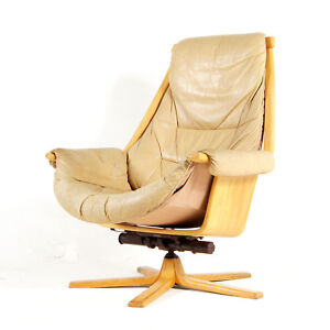 Retro-Vintage-Gote-Mobler-Leather-Swivel-Lounge-70s-Armchair-Egg-Chair-Danish