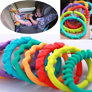 Rainbow-Teether-Ring-Links-Plastic-Baby-Kids-Infant-Stroller-Gym-Play-Mat-Toys