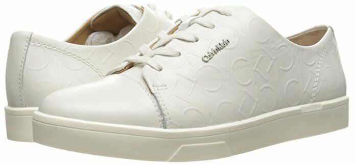 Calvin Klein Imilia 8 Platinum WEISS Leder Walking Sneakers Casuals Some Marks