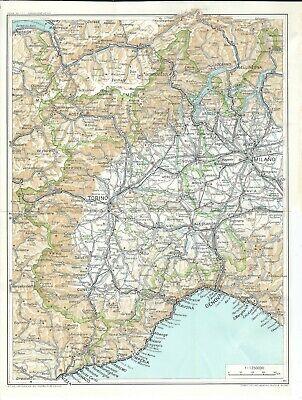 Cartina Geografica Piemonte Politica.Piemonte Carta Geografica Del Touring Club Italiano Del 1961 Ebay