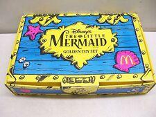 DISNEY LITTLE MERMAID MCDONALD'S GOLDEN TREASURE GOLD TOY FIGURES & COA & BOX