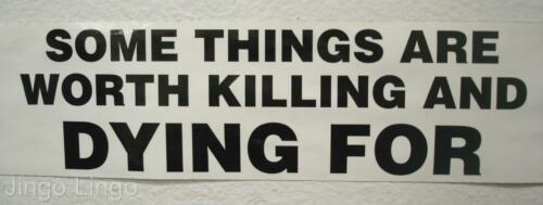 PATRIOTIC BUMPER STICKER~Some Things Are Worth Killing And Dying For~HARSH//TRUE