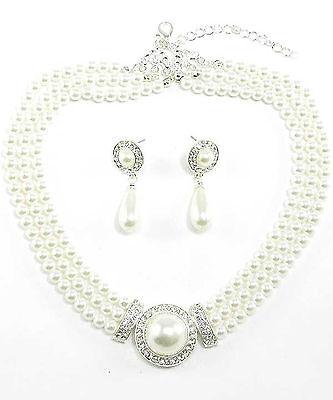 87b Bridal White Pearl Necklace Set w Rhinestone Focal Bead wTeardrop Earrings