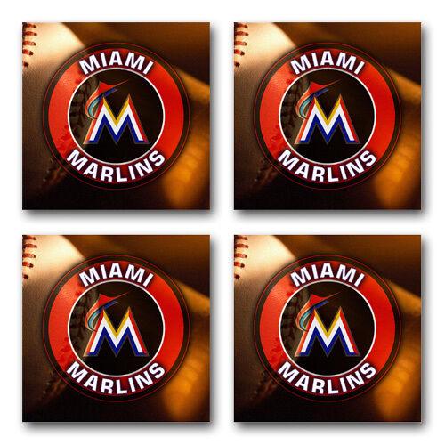 Miami Marlins Baseball Rubber Square Coaster set SRC2014 4 pack