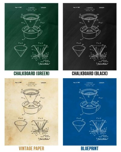 Pour Over Coffee Poster Print Cafe Wall Art Barista Gift Kitchen Decor