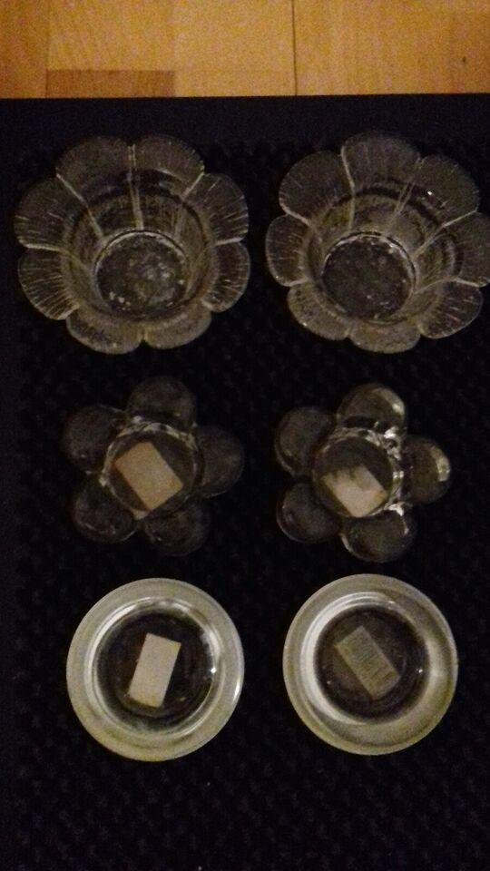 Glas, 3 par glaslysestager samlet 15 kr, 3 par