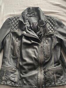 Details about All Saints Cargo Grey Leather Biker Jacket 12