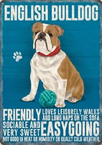 ENGLISH-BULLDOG-ANIMAL-METAL-SIGN-PLAQUE-PICTURE-PRINT-OTHER-BREEDS-LISTED-1296
