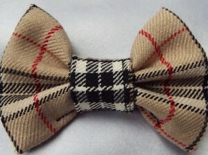 BEIGE-TARTAN-4-INCH-HAIR-BOW-ALLIGATOR-CLIP-LADIES-GIRLS-NEW