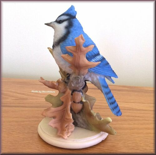 Ship Bluejay on Oak Leaves Figurine by Stone Critters 5.75 Inches High Free U.S
