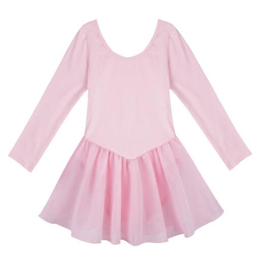Child Girls Ballet Dance Clothes Tutu Dress Long Sleeved Leotard Kids Dance Wear