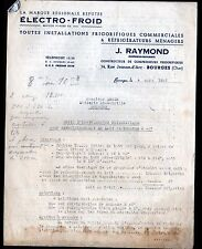 """BOURGES (18) Constructeur de COMPRESSEURS FRIGORIFIQUES """"J. RAYMOND"""" en 1952"""